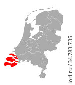 Karte von Zeeland in Niederlande - Map of Zeeland in Netherlands. Стоковое фото, фотограф Zoonar.com/Robert Biedermann / easy Fotostock / Фотобанк Лори