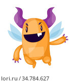 Evil orange fairy monster with big purple horns and wings on white... Стоковое фото, фотограф Zoonar.com/Morphart Creations inc. / easy Fotostock / Фотобанк Лори