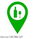 Weinglas und Kartenmarkierung - Wine glass and location pin. Стоковое фото, фотограф Zoonar.com/Robert Biedermann / easy Fotostock / Фотобанк Лори
