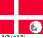 Fahne und Landkarte von Dänemark - Flag and map of Denmark. Стоковое фото, фотограф Zoonar.com/lantapix / easy Fotostock / Фотобанк Лори