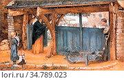 Rooke Thomas Matthews - a Lych Gate - British School - 19th Century. Редакционное фото, фотограф Artepics / age Fotostock / Фотобанк Лори