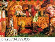 Rossetti Dante Gabriel - How Sir Galahad Bors and Percival Were Fed... Редакционное фото, фотограф Artepics / age Fotostock / Фотобанк Лори