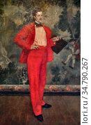Evenepoel Henri - L 'homme En Rouge - Belgian School - 19th Century. Редакционное фото, фотограф Artepics / age Fotostock / Фотобанк Лори