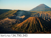 View of Caldera Tengger with volcanoes at sunrise, smoking volcano... Стоковое фото, фотограф Chew Chun Hian / age Fotostock / Фотобанк Лори