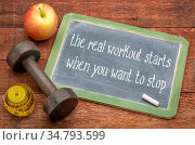 The real workout starts when you want to stop - white chalk text on... Стоковое фото, фотограф Zoonar.com/Marek Uliasz / easy Fotostock / Фотобанк Лори