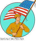 Drawing sketch style illustration of an american soldier serviceman... Стоковое фото, фотограф Zoonar.com/patrimonio designs / easy Fotostock / Фотобанк Лори