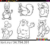Black and White Coloring Book Cartoon Illustration of Wild Animal... Стоковое фото, фотограф Zoonar.com/Igor Zakowski / easy Fotostock / Фотобанк Лори