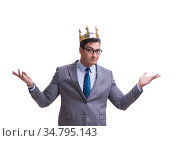 The king businessman isolated on white background. Стоковое фото, фотограф Elnur / Фотобанк Лори