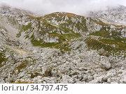 Rocky alpine slope partially obscured by a cloud. Стоковое фото, фотограф Евгений Харитонов / Фотобанк Лори