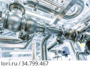 Stainless steel pipes. Industrial pipeline system. Стоковое фото, фотограф Андрей Радченко / Фотобанк Лори