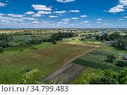 Rural flat landscape. Plowed and sown fields. Стоковое фото, фотограф Андрей Радченко / Фотобанк Лори