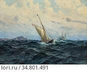 Johnssen Hjalmar - Sailing Boat and Steamer - Norwegian School - ... Редакционное фото, фотограф Artepics / age Fotostock / Фотобанк Лори