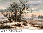 Dahl Johan Christian Clausen - Megalithic Grave in Winter 1 - Norwegian... Редакционное фото, фотограф Artepics / age Fotostock / Фотобанк Лори