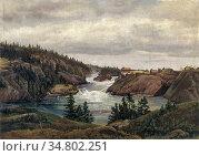 Dahl Johan Christian Clausen - the Lower Waterfalls of Trollhaetta... Редакционное фото, фотограф Artepics / age Fotostock / Фотобанк Лори