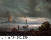 Dahl Johan Christian Clausen - Volcano at Evening Sicily - Norwegian... Редакционное фото, фотограф Artepics / age Fotostock / Фотобанк Лори