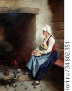 Ender Axel Hjalmar - Motherly Love - Norwegian School - 19th Century. Редакционное фото, фотограф Artepics / age Fotostock / Фотобанк Лори