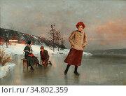 Ender Axel Hjalmar - Pa Skoytebanen - Norwegian School - 19th Century. Редакционное фото, фотограф Artepics / age Fotostock / Фотобанк Лори