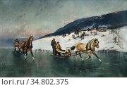 Ender Axel Hjalmar - Sledge Riding 1 - Norwegian School - 19th Century... Редакционное фото, фотограф Artepics / age Fotostock / Фотобанк Лори