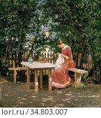 Munthe Gerhard - the Artist's Wife in the Gazebo - Norwegian School... Редакционное фото, фотограф Artepics / age Fotostock / Фотобанк Лори