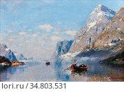 Rasmussen Georg Anton - Robåt Og Seilbåt I Sognefjorden - Norwegian... Редакционное фото, фотограф Artepics / age Fotostock / Фотобанк Лори