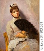 Ross Christian Meyer - Lady with Fan - Norwegian School - 19th Century... Редакционное фото, фотограф Artepics / age Fotostock / Фотобанк Лори