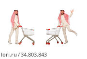 Arab man doing shopping isolated on white. Стоковое фото, фотограф Zoonar.com/Elnur Amikishiyev / easy Fotostock / Фотобанк Лори