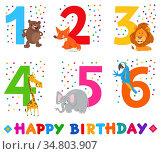 Cartoon Illustration Design of the Birthday Greeting Cards Set for... Стоковое фото, фотограф Zoonar.com/Igor Zakowski / easy Fotostock / Фотобанк Лори