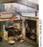 Wergeland Oscar - First Voyage - Norwegian School - 19th Century. Редакционное фото, фотограф Artepics / age Fotostock / Фотобанк Лори