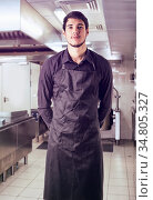 Young chef or waiter posing, wearing black apron and shirt standing... Стоковое фото, фотограф Zoonar.com/Stefano Cavoretto / easy Fotostock / Фотобанк Лори