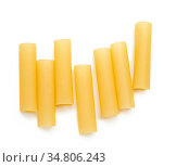 Raw cannelloni pasta isolated on white background, top view. Стоковое фото, фотограф Zoonar.com/Danko Natalya / easy Fotostock / Фотобанк Лори