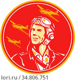 Illustration of a world war two pilot airman aviator smiling looking... Стоковое фото, фотограф Zoonar.com/patrimonio designs limited / easy Fotostock / Фотобанк Лори