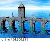 Steinerne Brücke mit Türmen im Wasser. Стоковое фото, фотограф Zoonar.com/Dr. Norbert Lange / easy Fotostock / Фотобанк Лори