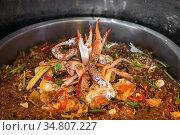 Hot Steamed Crabs with vermicelli. Стоковое фото, фотограф Vichaya Kiatying-Angsulee / easy Fotostock / Фотобанк Лори