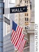 Wall street sign with New York Stock Exchange background New York... Стоковое фото, фотограф Vichaya Kiatying-Angsulee / easy Fotostock / Фотобанк Лори