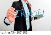 Writing note showing Error. Business concept for state or condition... Стоковое фото, фотограф Zoonar.com/Artur Szczybylo / easy Fotostock / Фотобанк Лори