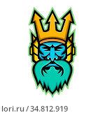 Mascot icon illustration of head of Poseidon, god of the Sea in Greek... Стоковое фото, фотограф Zoonar.com/aloysius patrimonio / easy Fotostock / Фотобанк Лори