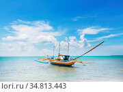 Traditional Philippino boat in the sea, Palawan island, Philippines. Стоковое фото, фотограф Zoonar.com/Galyna Andrushko / easy Fotostock / Фотобанк Лори