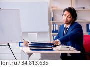 Young handsome businessman working in the office. Стоковое фото, фотограф Zoonar.com/Elnur Amikishiyev / easy Fotostock / Фотобанк Лори
