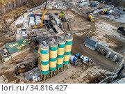 Concrete mixing plant aerial view. Стоковое фото, фотограф Андрей Радченко / Фотобанк Лори