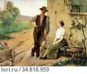 Tanoux Henri Adrien - Peasant Couple in a Farmyard - French School... Редакционное фото, фотограф Artepics / age Fotostock / Фотобанк Лори