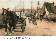 Arntzenius Floris - Bedrijvigheid Bij De Haven - Dutch School - 19th... Редакционное фото, фотограф Artepics / age Fotostock / Фотобанк Лори