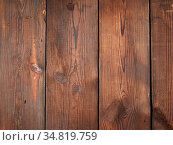 Brown wooden background from parallel old pine boards, copy space. Стоковое фото, фотограф Zoonar.com/Danko Natalya / easy Fotostock / Фотобанк Лори