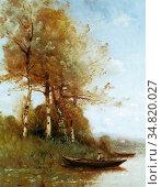 Trouillebert Paul Désiré - Morning Effect Silver Birches and a River... Редакционное фото, фотограф Artepics / age Fotostock / Фотобанк Лори