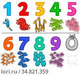 Cartoon Illustration of Educational Numbers Set from One to Nine with... Стоковое фото, фотограф Zoonar.com/Igor Zakowski / easy Fotostock / Фотобанк Лори