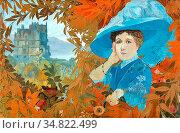 Feure Georges De - Femme Au Chapeau Bleu Devant Un Château - Dutch... Редакционное фото, фотограф Artepics / age Fotostock / Фотобанк Лори