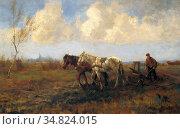 Hoog Bernard De - Boer Met Paarden - Dutch School - 19th Century. Редакционное фото, фотограф Artepics / age Fotostock / Фотобанк Лори