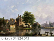 Hove Bart Van - a Dutch Town in Summer - Dutch School - 19th Century. Редакционное фото, фотограф Artepics / age Fotostock / Фотобанк Лори