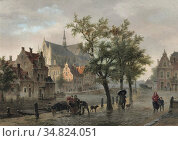 Hove Bart Van - a Capriccio View of Leiden - Dutch School - 19th ... Редакционное фото, фотограф Artepics / age Fotostock / Фотобанк Лори