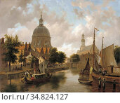 Hove Bart Van - a Capricio View of Leiden with the Marekerk and the... Редакционное фото, фотограф Artepics / age Fotostock / Фотобанк Лори