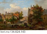 Hove Bart Van - Bedrijvigheid in Een Hollands Stadje - Dutch School... Редакционное фото, фотограф Artepics / age Fotostock / Фотобанк Лори